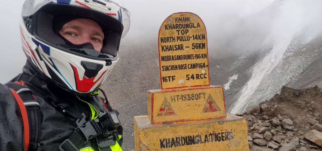 "my motorcycle trips was in Indian side of the Himalayans and one of the main attractions of the trip was the ""highest motoring pass in the world"" Khardung La at 5,359m"